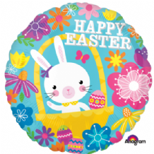"Easter Bunny Floral Foil Balloon (18"") 1pc"